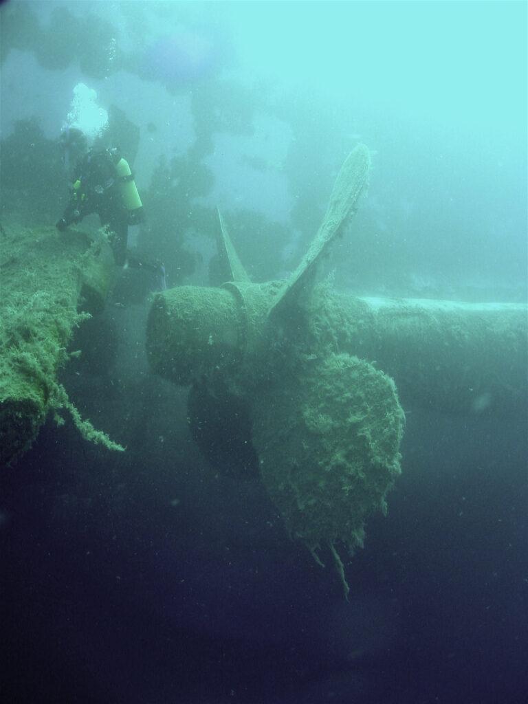 BIld der Schiffschraube der Zenobia, die vor der Küste Larnakas gesunken ist.