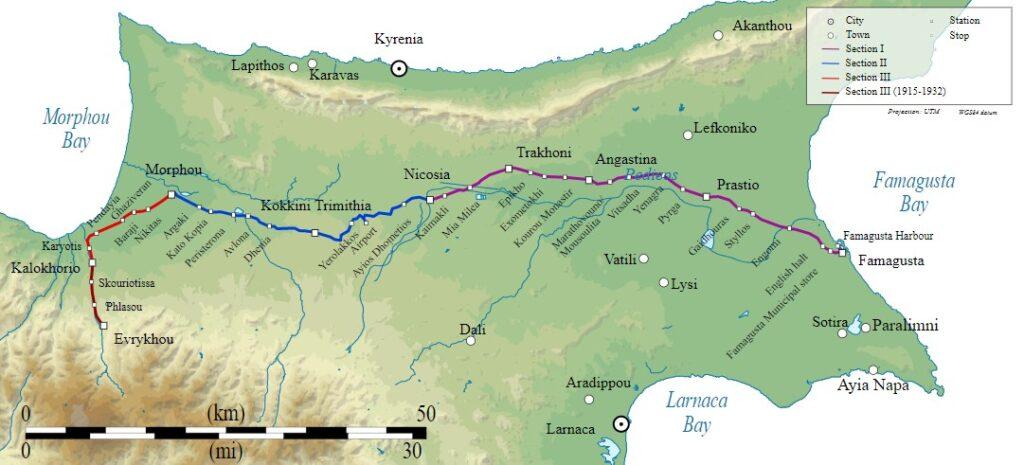 Das Bild zeigt die einzige Eisenbahnstrecke Zyperns