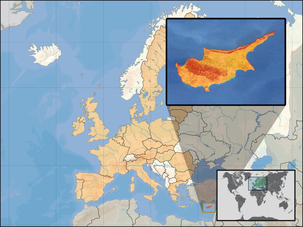 Das Bild zeigt die Lage der Insel Zypern zum Rest von Europa und der Welt.