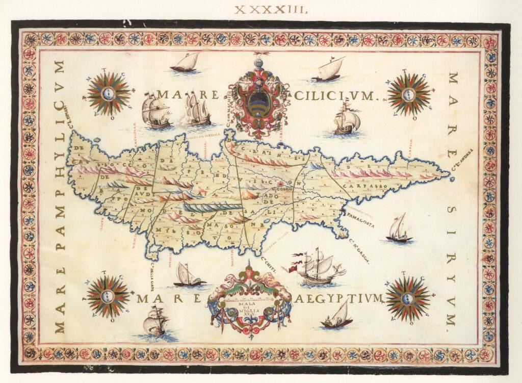 Das Bild zeigt eine historische Karte Zyperns von Francesco Basilicata aus dem Jahr 1618