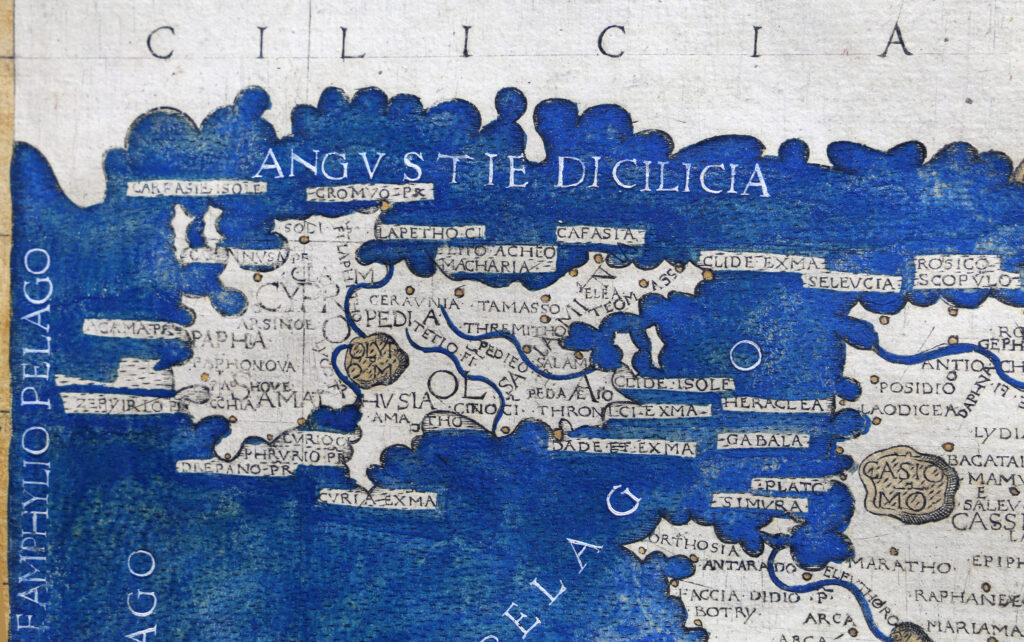 Das Bild zeigt eine Karte Zyperns aus dem Jahr 1482.