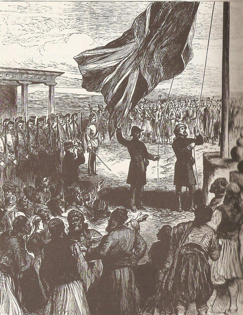 Zypern Nikosia Hissen der britischen Fahne. Foto aus der Illustrated London News
